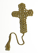 Featured Tapestries - Textiles Originals - Mustard Cross Bookmark by Diane M