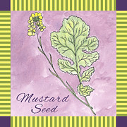 Stripes Drawings Posters - Mustard Seed  Poster by Christy Beckwith