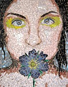 Mosaic Portrait Glass Art - Mute by Monique Sarfity