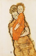 Schiele Drawings - Mutter und Kind by Pg Reproductions