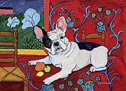 French Bulldog Posters Framed Prints - Muttisse - French Bulldog Harmony in Red Framed Print by Gretchen Kish Serrano