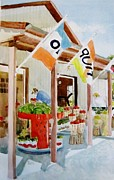 Boxes Paintings - Muzzarellis Farm Market by Judith Scull