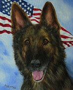 Shepherds Framed Prints - MWD Sgt. Beyco- Sable German Shepherd Framed Print by Barb Yates
