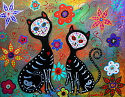 Cool Cats Paintings - My 2 Cats Dia De Los Muertos by Pristine Cartera Turkus