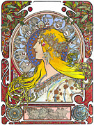 Elena Yakubovich Prints - My Acrylic Painting As An Interpretation Of The Famous Artwork Of Alphonse Mucha - Zodiac - Print by Elena Yakubovich