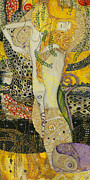Sisters Drawings - My acrylic painting as an interpretation of the famous artwork of Gustav Klimt - Water Serpents I by Elena Yakubovich