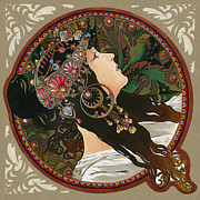 Gold Necklace Posters - My Acrylic Painting As Interpretation Of Alphonse Mucha - Byzantine Head The Brunette Diagonal frame Poster by Elena Yakubovich