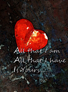 Engagement Digital Art Prints - My All - Love Romantic Art Valentines Day Print by Sharon Cummings