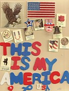 Sam Mixed Media Prints - My America Print by Linda Knight