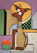 Cubism Posters - My Apple Head Chihuahua Poster by Anthony Falbo