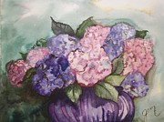 First Lady Drawings Prints - My Beautiful Hydrangeas  Print by Jaime Lopez