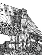 Brooklyn Bridge Drawings Posters - My Beloved Brooklyn Bridge Poster by Dianne Ferrer