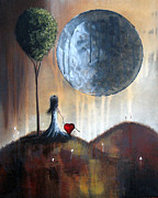 Moon Paintings - My Bff by Shawna Erback by Shawna Erback