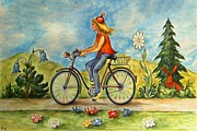 Landscape Drawings Framed Prints - My Bicycle - Naive Watercolor Framed Print by Peter Art Print Gallery  - Paintings Photos Posters