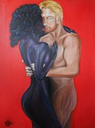 Bw Paintings - My Black Magic Woman - Interracial Lovers Series   by Yesi Casanova