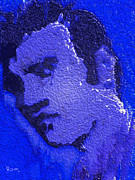 Tennessee Prints Paintings - My Blue Elvis by Robert Margetts