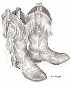 Western Pencil Drawing Posters - My Boots Poster by Nan Wright