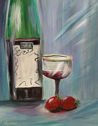 Wine Bottle Paintings - My Bottle by Dyanne Parker