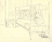 Gear Drawings Metal Prints - My Bunk in Basic Training I Fort Jackson 1976 Metal Print by Jim Vansant