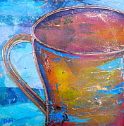 Painted Mixed Media Metal Prints - My Cup of Tea Metal Print by Debi Pople