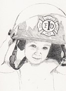 Fireman Drawings Posters - My Daddy is a Hero Poster by Crystal Gattis
