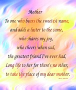 Cheers Prints - My Dear Mother Print by Barbara Griffin