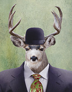 Suit And Tie Framed Prints - My Deer Man Framed Print by Juli Scalzi
