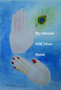 Devotional Paintings - My Devotee Will Never Perish by Geeta Biswas