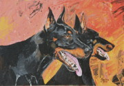 Originals Paintings - My dobermans by Janina  Suuronen