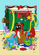 Boxer Digital Art Prints - My Dog Ate Christmas Print by Shawna  Rowe