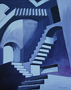 Disoriented Framed Prints - my Escher Stairs Framed Print by Tommy Midyette