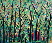 Modern Art Paintings - My Favorite Place In The Forest by Suzeee Creates