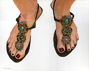 Painted Nails Posters - My Favorite Sandals Poster by Vicky Watkins