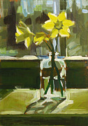 Daffodils Painting Metal Prints - My First Daffodils Metal Print by Annie Salness