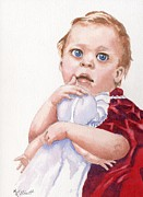 Toddler Portrait Paintings - My First Doll by Marsha Elliott