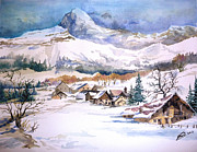 Ski Painting Originals - My First Snow Scene by Alban Dizdari