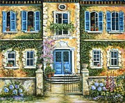 Stucco Painting Posters - My French Villa Poster by Marilyn Dunlap