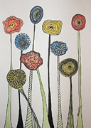 Poppies Drawings Posters - My Garden Poster by Marcia Weller-Wenbert