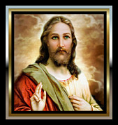 Framed Jesus Posters Framed Prints - My Gentle Savior 2 Framed Print by Karen Showell