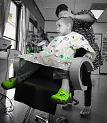 Little Boy Posters - My Green Shoes on Haircut Day Poster by Christy Usilton