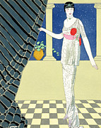 Evening Wear Paintings - My Guests have not Arrived by Georges Barbier