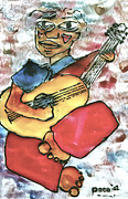 Man Glass Art Framed Prints - My Guitarist Framed Print by Carol Mallillin-Tsiatsios