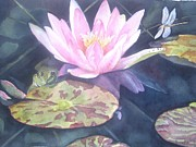 Waterlily Painting Metal Prints - My Handsome Prince Metal Print by Patricia Pushaw