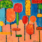 Green And Red Colored Paintings - My Happy Trees 2 by Ana Maria Edulescu