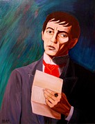 Fan Art Painting Originals - My Heart Swims Blind In A Sea That Stuns Me a portrait of Barnabas Collins by Patrick Lynch