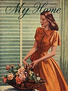 1940Õs Art - My Home 1940s Uk Womens Flowers by The Advertising Archives