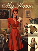 Featured Metal Prints - My Home 1947 1940s Uk Womens Magazines Metal Print by The Advertising Archives