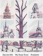 Townscapes Drawings - My Home Town by Paul Meinerth