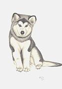 My Husky Puppy-misty Print by Patricia Hiltz
