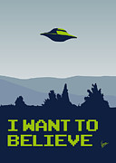 Spaceship Framed Prints - My I want to believe minimal poster Framed Print by Chungkong Art